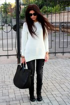 gray Pimkie jeans - black Zara bag - off white Loft jumper