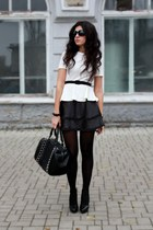 black Marco Pini shoes - black Zara bag - black handmade skirt