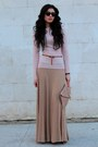 Burnt-orange-bershka-shoes-light-pink-naf-naf-blazer-peach-asos-bag