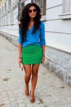 green Stradivarius skirt - burnt orange Bershka shoes - cream fullah sugar bag