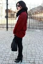 black Zara boots - black Bershka leggings - black Zara bag