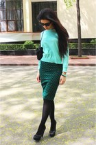 teal Bershka shirt - aquamarine Bershka blazer - black La Scarpe heels
