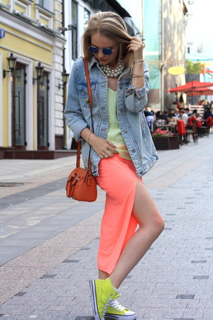 light blue Zara jacket - carrot orange Topshop bag - chartreuse Zara top