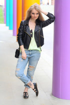 black Topshop shoes - light blue Zara jeans - black Mango jacket