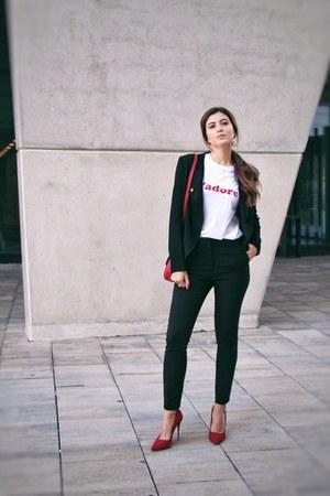 black pedro de herrera blazer - black Zara pants - white Boohoo t-shirt