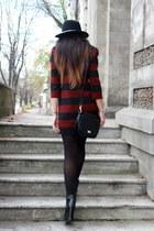 black Zara boots - brick red Zara dress - black Zara hat