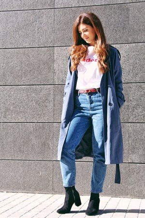 blue Zara coat - blue Zara jeans - white Boohoo t-shirt
