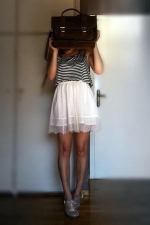 striped crop DIY top - eggshell H&M skirt - jelly JuJu sandals