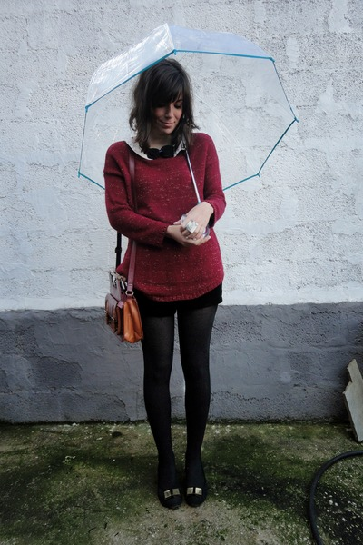 velvet Stradivarius shorts - umbrella modcloth accessories - ballet exe flats