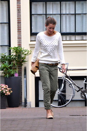 eggshell Bershka sweater - brown River Island loafers - dark khaki Topshop pants