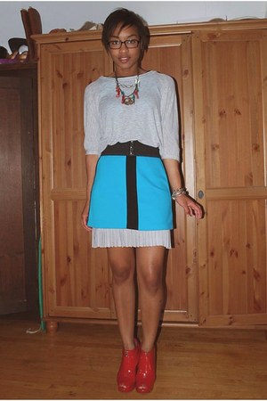 f21 shirt - vintage dress - emporio armani skirt - shoes - self-designed accesso