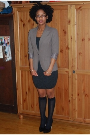 blazer - H&M dress - socks - Bebe shoes