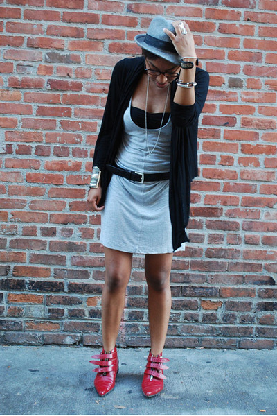 hat - f21 sweater - James Perse dress - George Cox boots