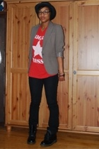 blazer - t-shirt - f21 jeans - Doc Marten boots