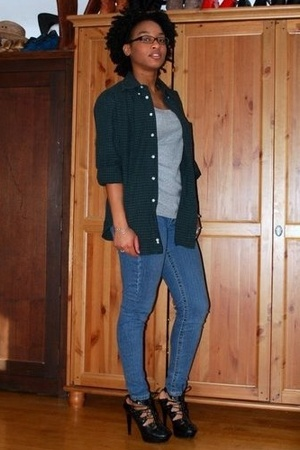 thrifted shirt - top - f21 jacket - promiscuous shoes