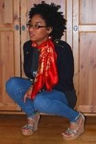 f21 bracelet - scarf - vintage shirt - f21 jeans - Bakers shoes