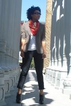 blazer - scarf - shirt - jeans - shoes