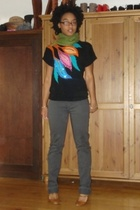 f21 scarf - vintage sweater - American Apparel jeans - emporio armani shoes