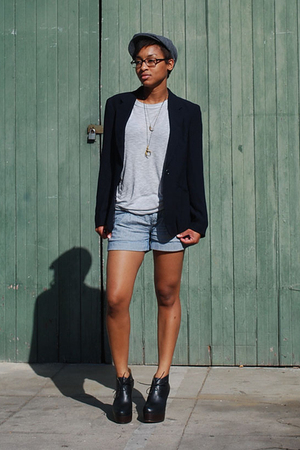 brixton hat - thrifted blazer - f21 shirt - f21 shorts - acne shoes - Talonalia