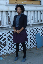 forever 21 jacket - forever 21 dress - DIY skirt - tights - forever 21 shoes