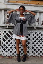 vintage jacket - f21 dress - Colonial Madness boots