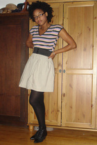 vintage shirt - DIY skirt - Target tights - vintage shoes