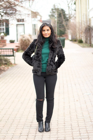 ankle boots H&M shoes - faux fur H&M coat - black skinny H&M jeans