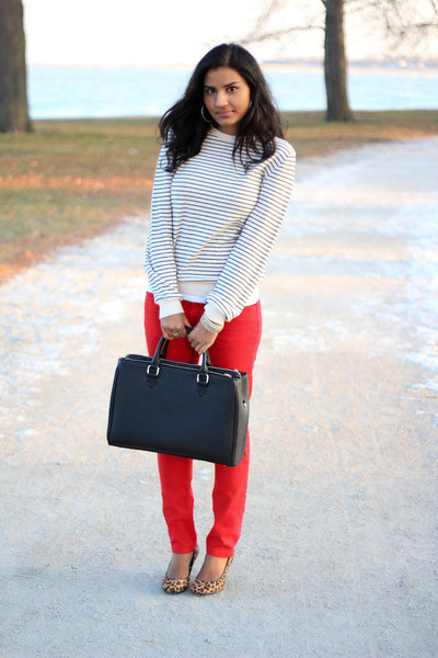 black leopard Target heels - red TJ Maxx jeans - mens Gap sweater