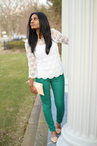 lace Forever 21 top - green green Target jeans - clutch Zara bag