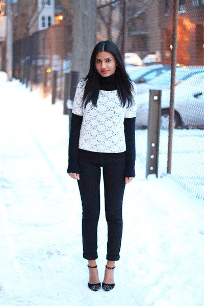 turtleneck Old Navy top - lace Forever 21 top - black H&M jeans