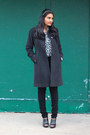 Wool-anne-klein-coat-black-pieces-jeans-thirfted-zara-blouse