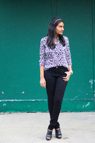 wool Anne Klein coat - black pieces jeans - thirfted Zara blouse