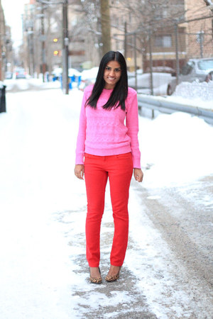 red TJMaxx jeans - pink Forever 21 sweater - leopard print Target heels