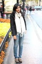 white H&M scarf - denim American Eagle jeans - black Zara blazer