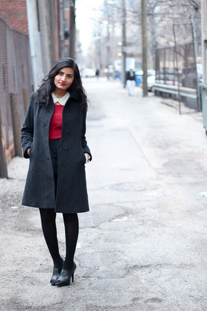 cashmere Anne Klein coat - red red Loft top - feminine Zara skirt - DIY necklace