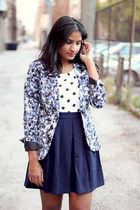 navy Forever 21 skirt - printed H&M blazer - polka dots Gap top