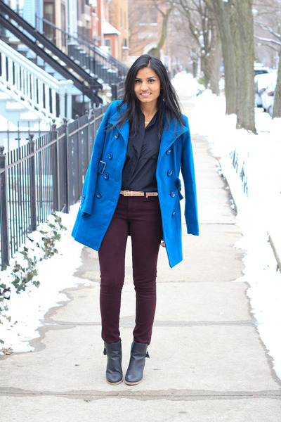 burgundy H&M jacket - blue Forever 21 jacket - ankle boots American Eagle boots