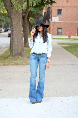 black H&M hat - flared Paige Denim jeans - chambray Forever 21 shirt