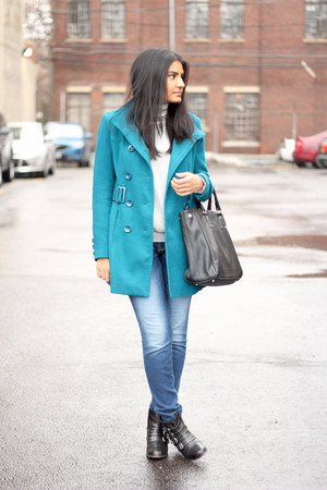 blue Forever 21 coat - ankle boots Urban Outfitters boots