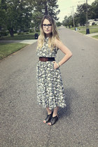 floral vintage dress - leather Urban Outfitters belt - lace up Forever 21 heels