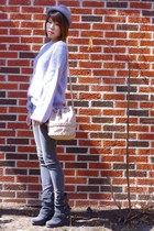 gray wedge buckle Madison Harding boots - charcoal gray jeggings Gap jeans
