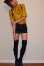 Gold-vintage-blouse-black-f21-accessories-black-serfontaine-shorts-black-t
