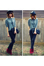 Black-fedora-pop-hat-charcoal-gray-forever-21-shirt-clutch-vintage-purse-l
