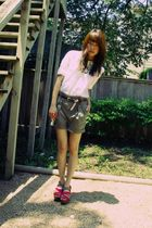white vintage blouse - brown Zara belt - green Zara shorts - pink Marni shoes -