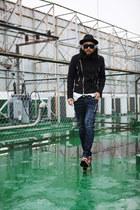black BYTHER coat - stud BYTHER sunglasses