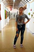 navy Zara jeans - black shirt - silver eagle detail H&M blouse