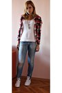 Periwinkle-with-cut-set-set-jeans-brick-red-color-squares-mister-lady-shirt