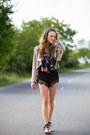 Roberta-biagi-jacket-romwe-shorts-romwe-top-romwe-sandals