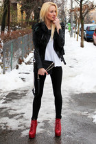 Zara jacket - Jeffrey Campbell boots - Zara leggings - Zara bag - H&M t-shirt