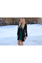 green Zara dress - black Zara coat - multicolor from greece purse